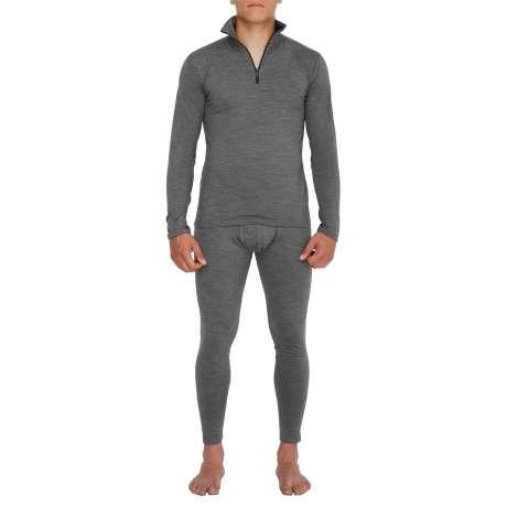M's Merino jersey Zip-neck |Dark Grey